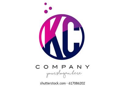 KC K C Circle Letter Logo Design with Purple Magenta Dots Bubbles Vector Illustration
