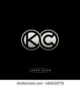 KC K C initial letter linked circle capital monogram logo modern template silver color edition