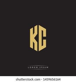 KC K C Logo Emblem Hexagon Capital Letter Modern Template