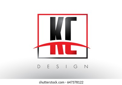 KC K C Logo Letters with Red and Black Colors and Swoosh. Creative Letter Design Vector.
