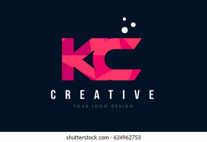 KC K C Purple Letter Logo Design with Low Poly Pink Triangles Concept