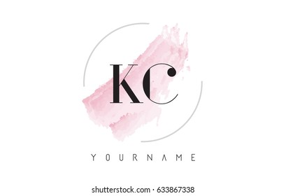 KC K C Watercolor Letter Logo Design with Circular Shape and Pastel Pink Brush.