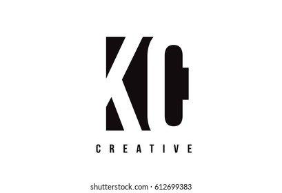 KC K C White Letter Logo Design with Black Square Vector Illustration Template.