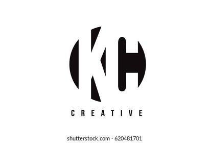 KC K C White Letter Logo Design with Circle Background Vector Illustration Template.