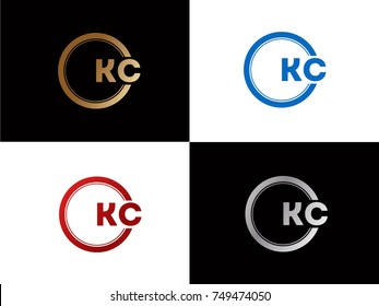 KC Logo. Letter Design Vector with Red and Black Gold Silver Colors