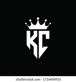 KC logo monogram emblem style with crown shape design template