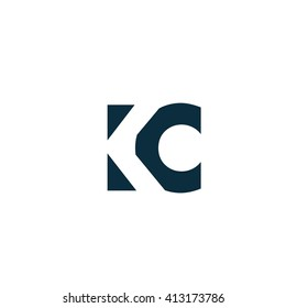 KC Logo. Vector Graphic Branding Letter Element. White Background