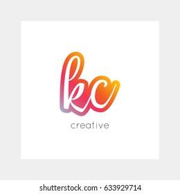 KC logo, vector. Useful as branding, app icon, alphabet combination, clip-art.