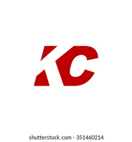 KC negative space letter logo red