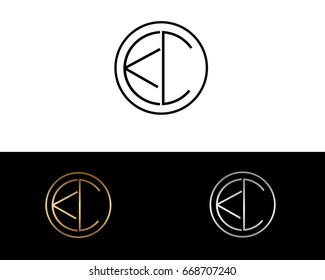 KC round circle shape initial letter logo