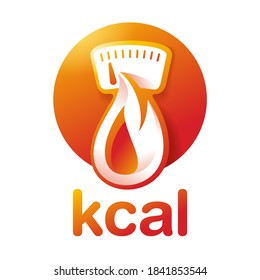 kcal icon (calories sign) combination of flame (fat burning) and weight scales dial - isolated vector emblem for healthy food, fitness or diet program packaging