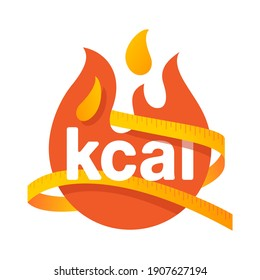 kcal icon - kilocalorie symbolic emblem for food products designation - fat burning visual - isolated vector element. Vector illustration