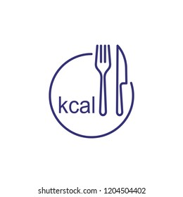 Kcal line icon. Fork, knife and plate drawing with kcal inscription. Diet concept. Vector illustration can be used for topics like healthy cooking, diet, lifestyle