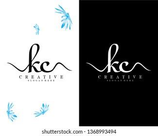 kc/ck initial handwriting logo template design vector