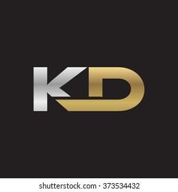 KD company linked letter logo golden silver black background