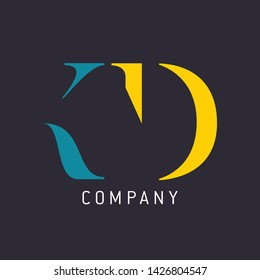 KD company logo. Monogram logo design. Letters K and D.