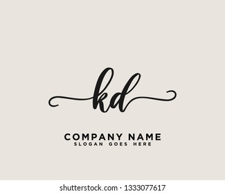 KD Initial Handwriting Logo Vector