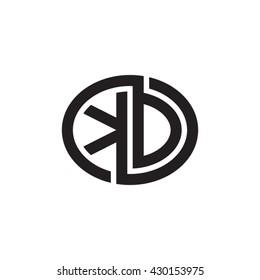 KD initial letters looping linked ellipse monogram logo
