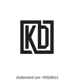 KD initial letters looping linked square monogram logo
