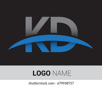 KD initial logo company name colored grey and blue swoosh design.