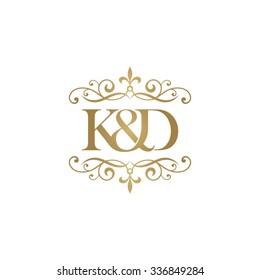 K&D Initial logo. Ornament ampersand monogram golden logo