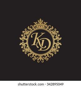 KD initial luxury ornament monogram logo