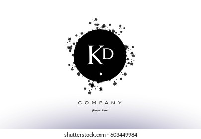 kd k d  black white circle grunge splash vintage retro alphabet company logo design vector icon template