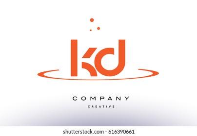KD K D creative orange swoosh dots alphabet company letter logo design vector icon template