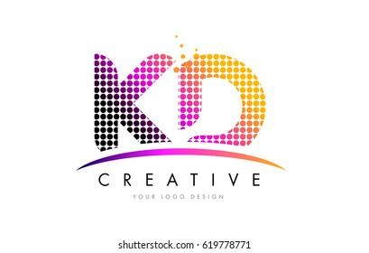 KD K D Dots Letter Logo Design with Magenta Bubble Circles and Swoosh