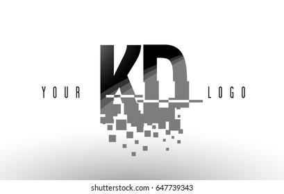 KD K D Pixel Letter Logo with Digital Shattered Black Squares. Creative Letters Vector Illustration.