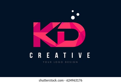 KD K D Purple Letter Logo Design with Low Poly Pink Triangles Concept