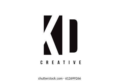 KD K D White Letter Logo Design with Black Square Vector Illustration Template.