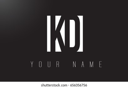 KD Letter Logo With Black and White Letters Negative Space Design.