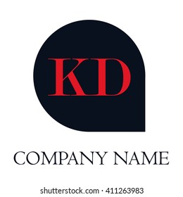 KD Letters red , Abstract black background logo, Design identity in shape, Alphabet letter