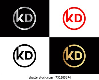 KD Logo. Letter Design Vector with Red and Black Gold Silver Colors