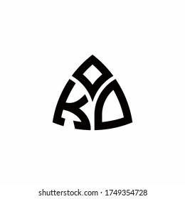KD monogram logo with modern triangle style design template isolated on white background