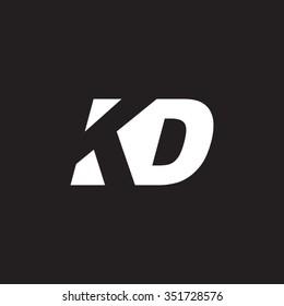 KD negative space letter logo black background
