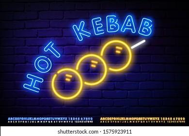 Kebab Bistro neon sign, bright signboard, light banner. Shawarma cafe logo and emblem.