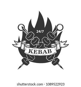 Kebab emblem template. Fast food. Design element for logo, label, emblem, sign. Vector image