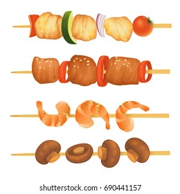 Kebab on wooden skewers isolated on white. Vector illustration.