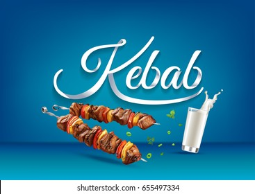 """Kebab"" paper hand lettering calligraphy. Vector illustration with food, drink objects and text."