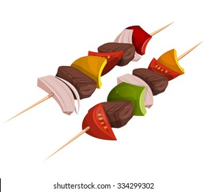 Kebab Skewers Icons/ Illustration of appetizing cartoon fast food kebab skewers icon, with meat, tomatoes, onions, bell peppers for bbq party and takeout restaurant