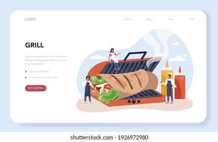 Kebab street food web banner or landing page. Chef cooking delicious roll with meat, salad and tomato. Shawarma fast food cafe. Vector illustration in cartoon style