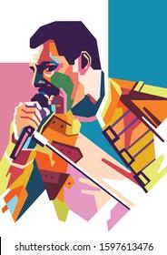 Kediri Indonesia Desember 25-2019: Freddie Mercury on WPAP style