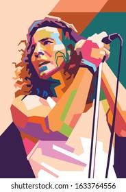Kediri Indonesia February 3-2020: Eddie Vedder on modern vector pop art portrait, WPAP style