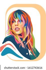 Kediri Indonesia Janurary 12-2020: Taylor Swift colorful pop art style,vector stock photo
