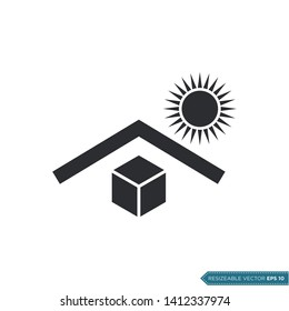 Keep away from direct sunlight. Packaging sign icon vector template flat design