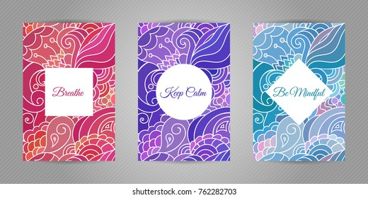 Keep calm, breathe and be mindful. Yoga and wellness motivational typography postcards on colorful zentangle style background with  indian and asian motives.
