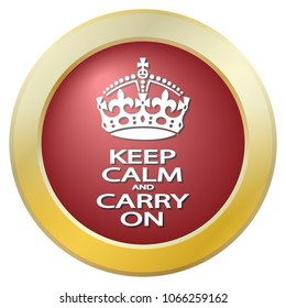A keep calm and carry on icon isolated on a white background