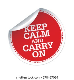 KEEP CALM and CARRY ON red vector sticker